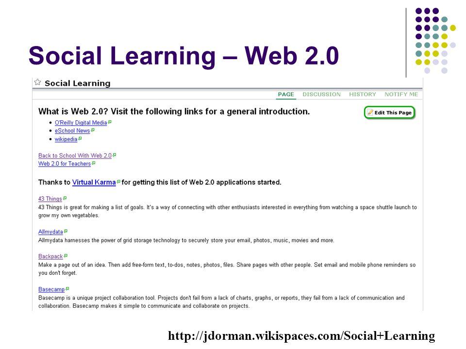 Social Learning – Web 2.0 http://jdorman.wikispaces.com/Social+Learning