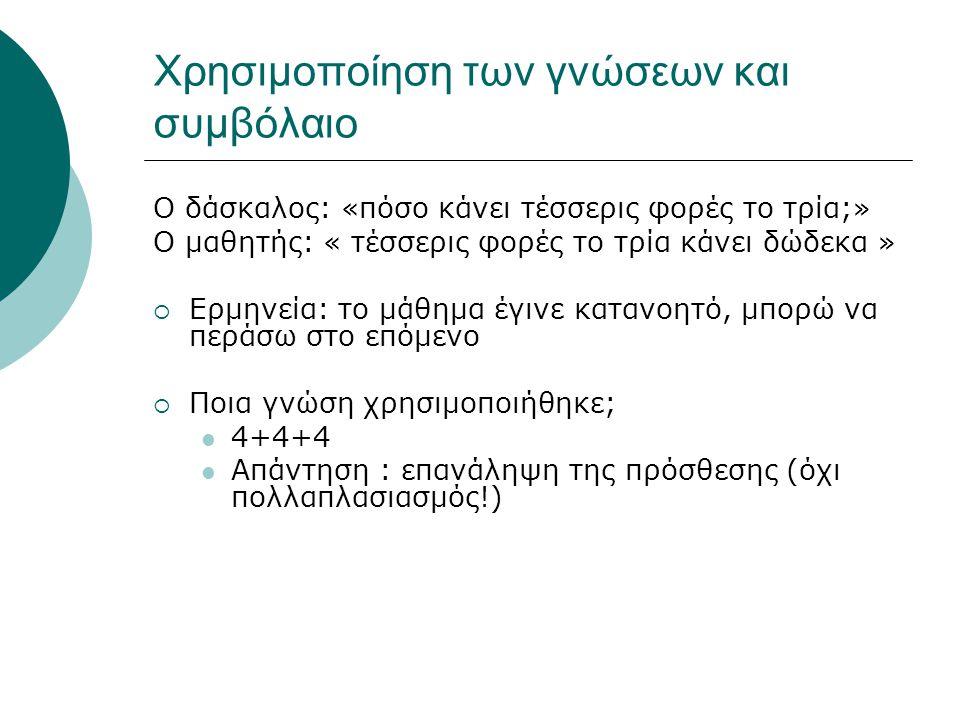 Χρησιμοποίηση των γνώσεων και συμβόλαιο Ο δάσκαλος: «πόσο κάνει τέσσερις φορές το τρία;» Ο μαθητής: « τέσσερις φορές το τρία κάνει δώδεκα »  Ερμηνεία: το μάθημα έγινε κατανοητό, μπορώ να περάσω στο επόμενο  Ποια γνώση χρησιμοποιήθηκε; 4+4+4 Απάντηση : επανάληψη της πρόσθεσης (όχι πολλαπλασιασμός!)
