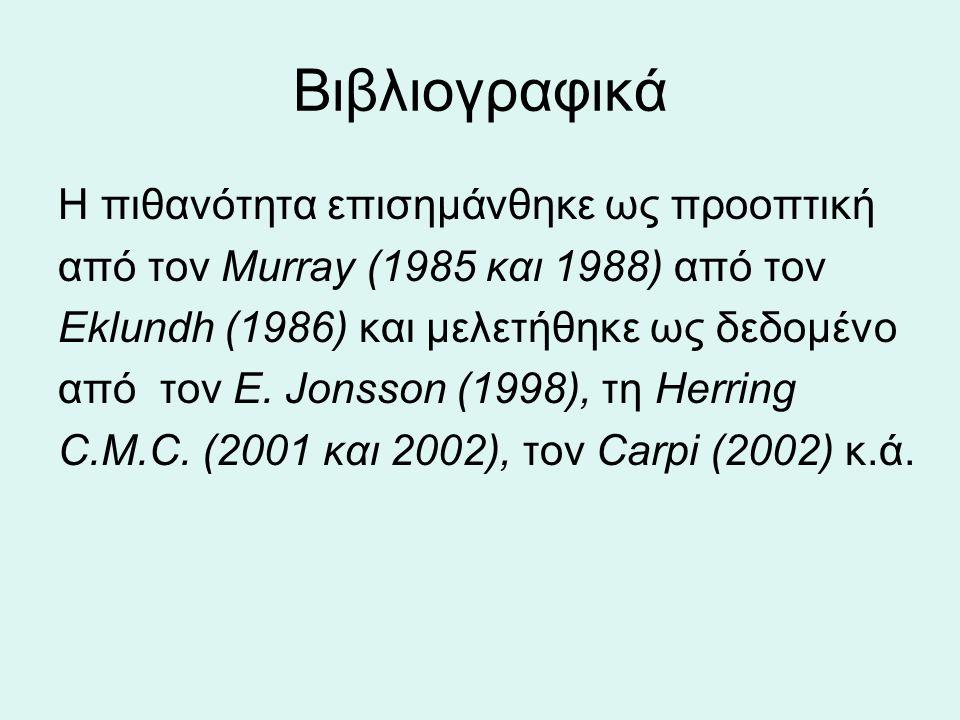 Η πιθανότητα επισημάνθηκε ως προοπτική από τον Murray (1985 και 1988) από τον Eklundh (1986) και μελετήθηκε ως δεδομένο από τον Ε.