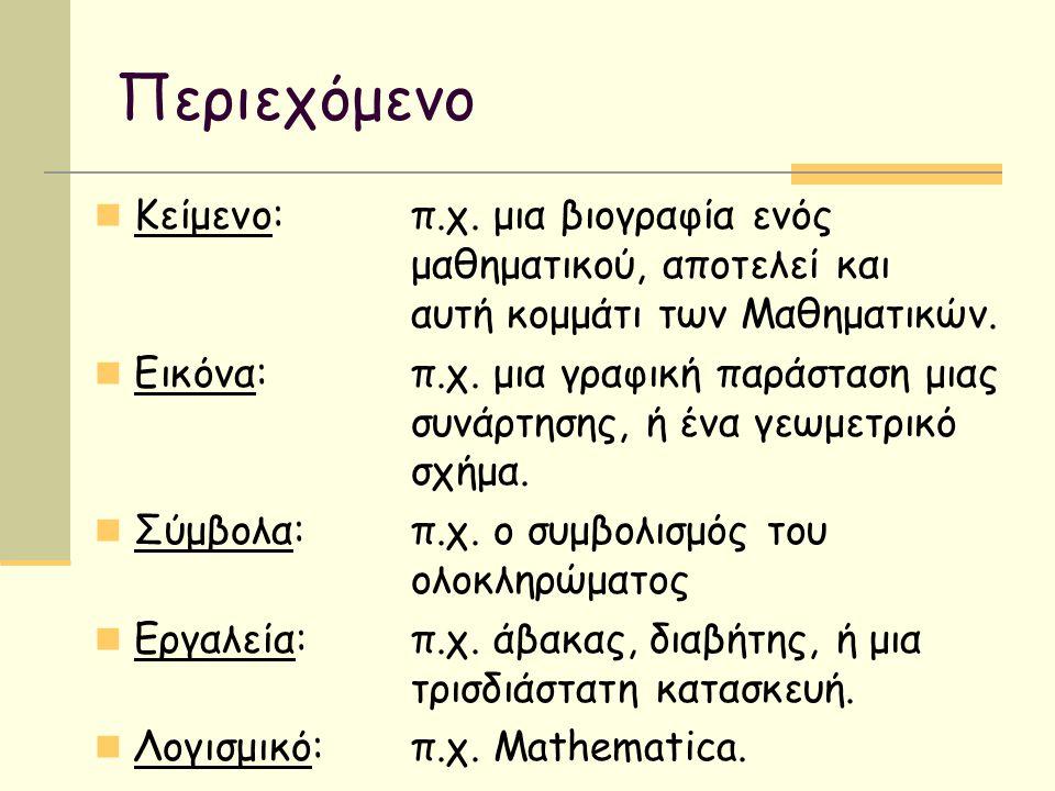 Περιεχόμενο Κείμενο:π.χ. μια βιογραφία ενός μαθηματικού, αποτελεί και αυτή κομμάτι των Μαθηματικών. Εικόνα:π.χ. μια γραφική παράσταση μιας συνάρτησης,