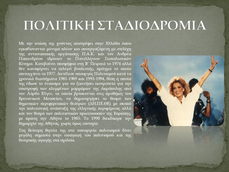 Με την πτώση της χούντας επιστρέφει στην Ελλάδα όπου εγκαθίστανται μόνιμα πλέον και συνεργαζόμενη με στελέχη της αντιστασιακής οργάνωσης Π.Α.Κ. και το