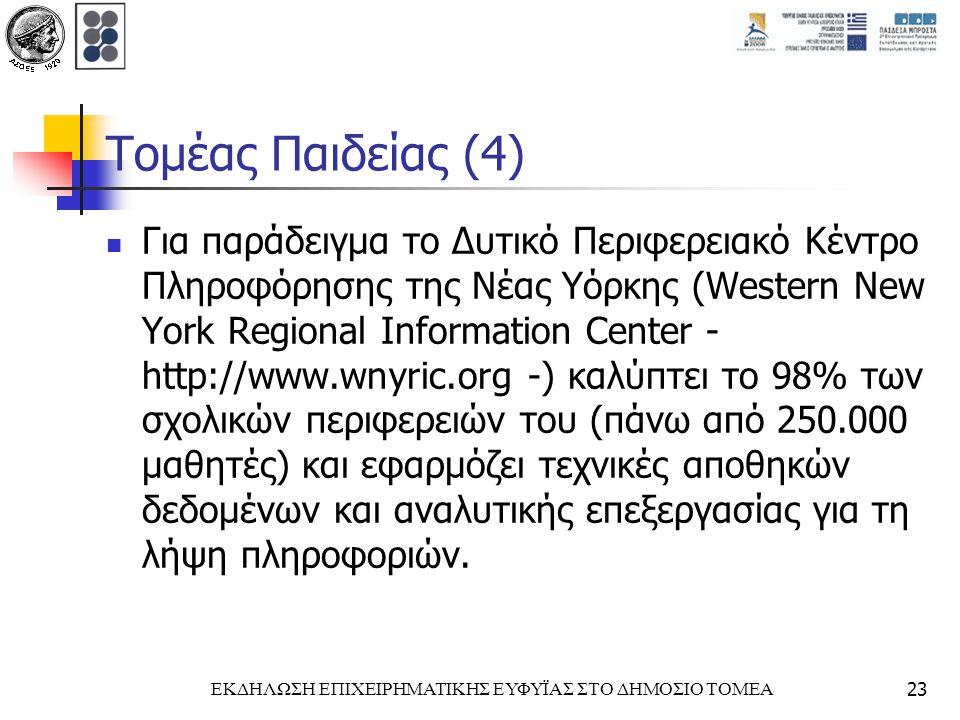 ΕΚΔΗΛΩΣΗ ΕΠΙΧΕΙΡΗΜΑΤΙΚΗΣ ΕΥΦΥΪΑΣ ΣΤΟ ΔΗΜΟΣΙΟ ΤΟΜΕΑ23 Τομέας Παιδείας (4) Για παράδειγμα το Δυτικό Περιφερειακό Κέντρο Πληροφόρησης της Νέας Υόρκης (Western New York Regional Information Center - http://www.wnyric.org -) καλύπτει το 98% των σχολικών περιφερειών του (πάνω από 250.000 μαθητές) και εφαρμόζει τεχνικές αποθηκών δεδομένων και αναλυτικής επεξεργασίας για τη λήψη πληροφοριών.