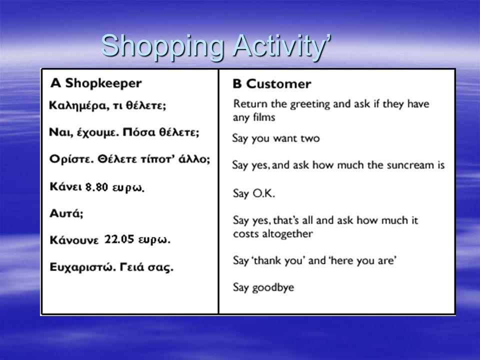Shopping Activity'