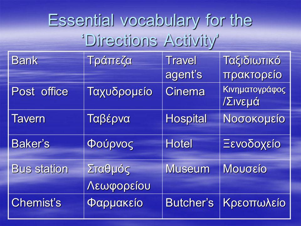 Essential vocabulary for the 'Directions Activity' BankΤράπεζα Travel agent's Ταξιδιωτικό πρακτορείο Post office ΤαχυδρομείοCinema Κινηματογράφος /Σιν
