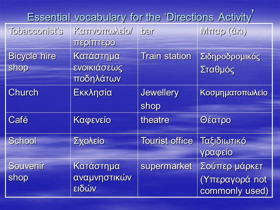 Essential vocabulary for the 'Directions Activity ' Tobacconist's Καπνοπωλείο/ περίπτερο bar Μπαρ (άκι) Bicycle hire shop Κατάστημα ενοικιάσεως ποδηλά