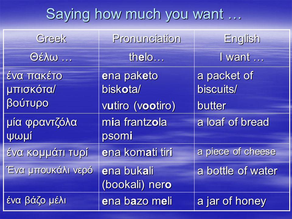 Saying how much you want … GreekPronunciationEnglish Θέλω … thelo… I want … ένα πακέτο μπισκότα/ βούτυρο ena paketo biskota/ vutiro (vootiro) a packet