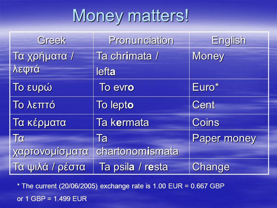 Money matters! GreekPronunciationEnglish Τα χρήματα / λεφτά Ta chrimata / lefta Money Το ευρώ To evro To evroEuro* Το λεπτό To lepto Cent Τα κέρματα T