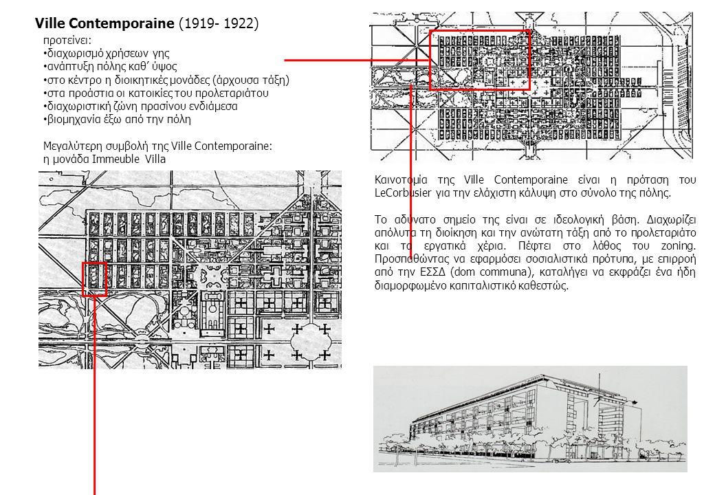 Immeuble Villa (Μονάδα κατοίκησης της Ville Contemporaine) 6 επίπεδα διώροφες κατοικίες στους 5 ορόφους βεράντα για κάθε κατοικία (διπλού ύψους) 55 κατοικίες ανά όροφο, 275 ανά μπλοκ (προσεγγιστικά) κατακόρυφη επικοινωνία κατοικιών με το ισόγειο οριοθετημένος χώρος πρασίνου στο αίθριο, που καλύπτει εγκαταστάσεις αναψυχής κοινόχρηστοι χώροι και μέσα το κτήριο Η διάταξη μιας μονάδας αλλά και η διάρθρωση των κατοικιών μέσα σε αυτές έχουν αναφορές σε Καρθουσιανά μοναστήρια που είχε επισκεφτεί ο LeCorbusier.