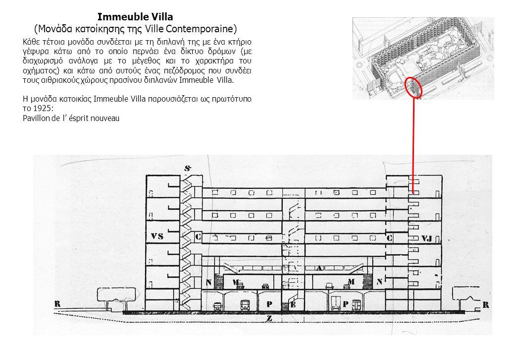 Immeuble Villa (Μονάδα κατοίκησης της Ville Contemporaine) Κάθε τέτοια μονάδα συνδέεται με τη διπλανή της με ένα κτήριο γέφυρα κάτω από το οποίο περνά