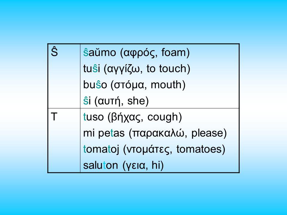 Ŝŝaŭmo (αφρός, foam) tuŝi (αγγίζω, to touch) buŝo (στόμα, mouth) ŝi (αυτή, she) Ttuso (βήχας, cough) mi petas (παρακαλώ, please) tomatoj (ντομάτες, tomatoes) saluton (γεια, hi)