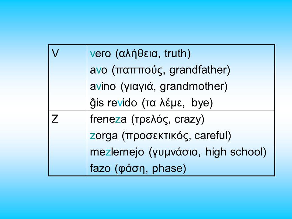 Vvero (αλήθεια, truth) avo (παππούς, grandfather) avino (γιαγιά, grandmother) ĝis revido (τα λέμε, bye) Zfreneza (τρελός, crazy) zorga (προσεκτικός, careful) mezlernejo (γυμνάσιο, high school) fazo (φάση, phase)