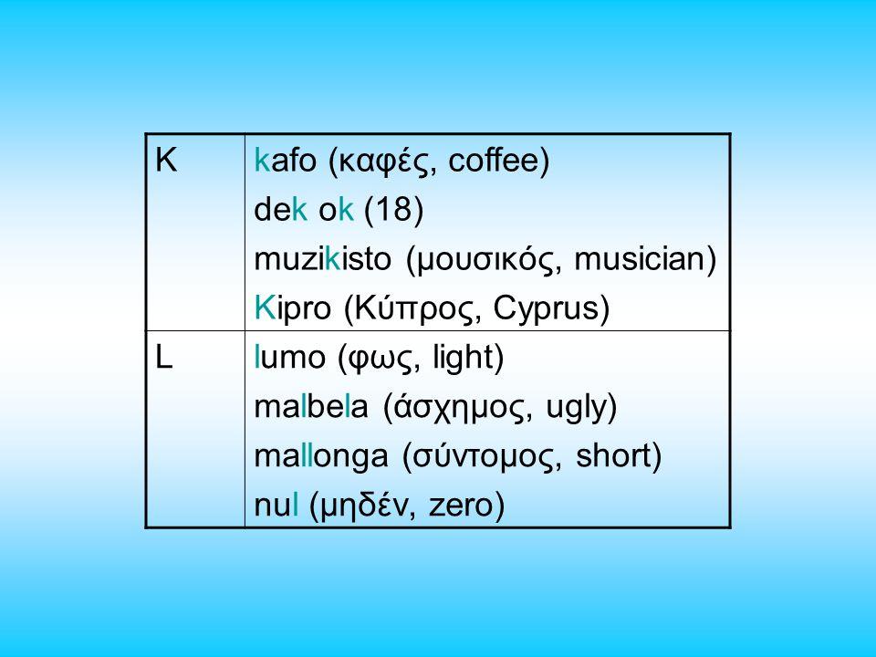 Kkafo (καφές, coffee) dek ok (18) muzikisto (μουσικός, musician) Kipro (Κύπρος, Cyprus) Llumo (φως, light) malbela (άσχημος, ugly) mallonga (σύντομος, short) nul (μηδέν, zero)