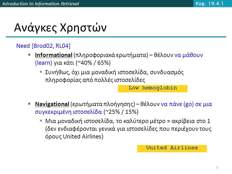 Introduction to Information Retrieval Ανάγκες Χρηστών Need [Brod02, RL04]  Informational (πληροφοριακά ερωτήματα) – θέλουν να μάθουν (learn) για κάτι (~40% / 65%)  Συνήθως, όχι μια μοναδική ιστοσελίδα, συνδυασμός πληροφορίας από πολλές ιστοσελίδες  Navigational (ερωτήματα πλοήγησης) – θέλουν να πάνε (go) σε μια συγκεκριμένη ιστοσελίδα (~25% / 15%)  Μια μοναδική ιστοσελίδα, το καλύτερο μέτρο = ακρίβεια στο 1 (δεν ενδιαφέρονται γενικά για ιστοσελίδες που περιέχουν τους όρους United Airlines) Low hemoglobin United Airlines Κεφ.