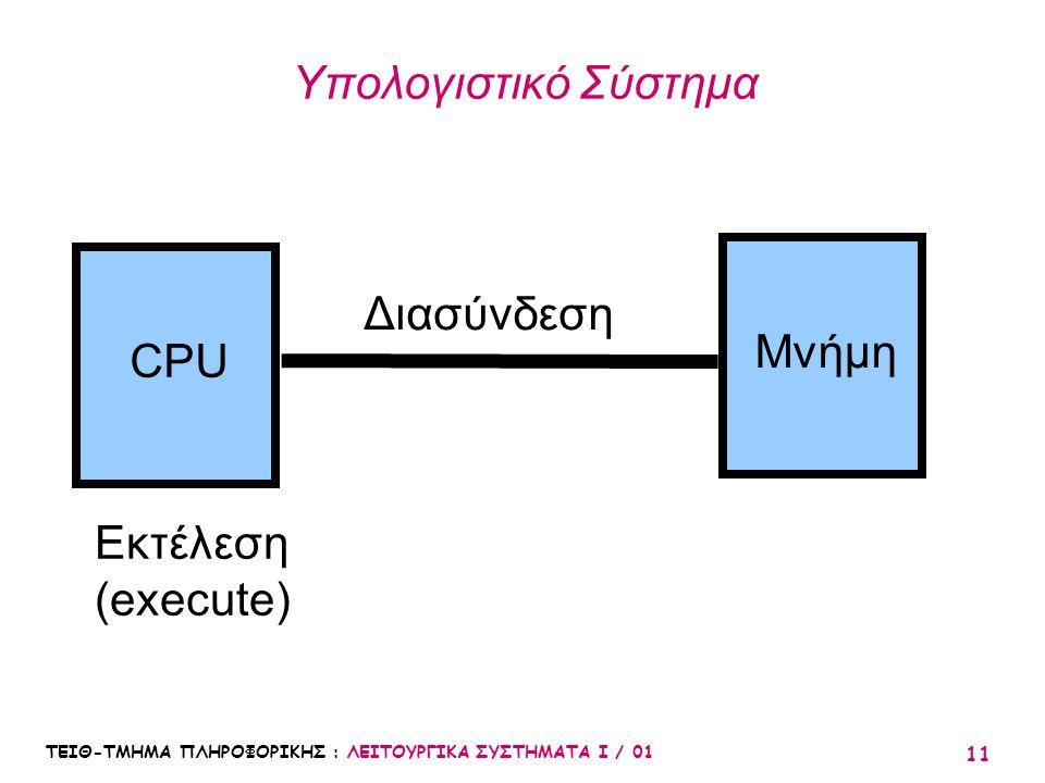 ΤΕΙΘ-ΤΜΗΜΑ ΠΛΗΡΟΦΟΡΙΚΗΣ : ΛΕΙΤΟΥΡΓΙΚΑ ΣΥΣΤΗΜΑΤΑ Ι / 01 11 Υπολογιστικό Σύστημα CPU Μνήμη Διασύνδεση Εκτέλεση (execute)