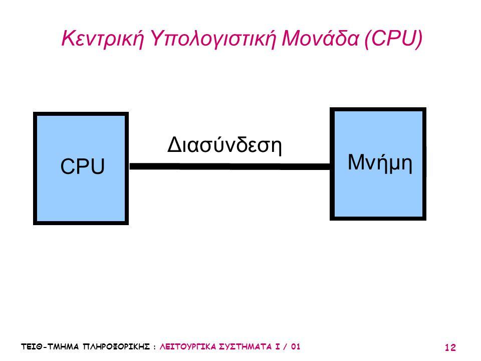 ΤΕΙΘ-ΤΜΗΜΑ ΠΛΗΡΟΦΟΡΙΚΗΣ : ΛΕΙΤΟΥΡΓΙΚΑ ΣΥΣΤΗΜΑΤΑ Ι / 01 12 Κεντρική Υπολογιστική Μονάδα (CPU) CPUΜνήμη Διασύνδεση Μνήμη