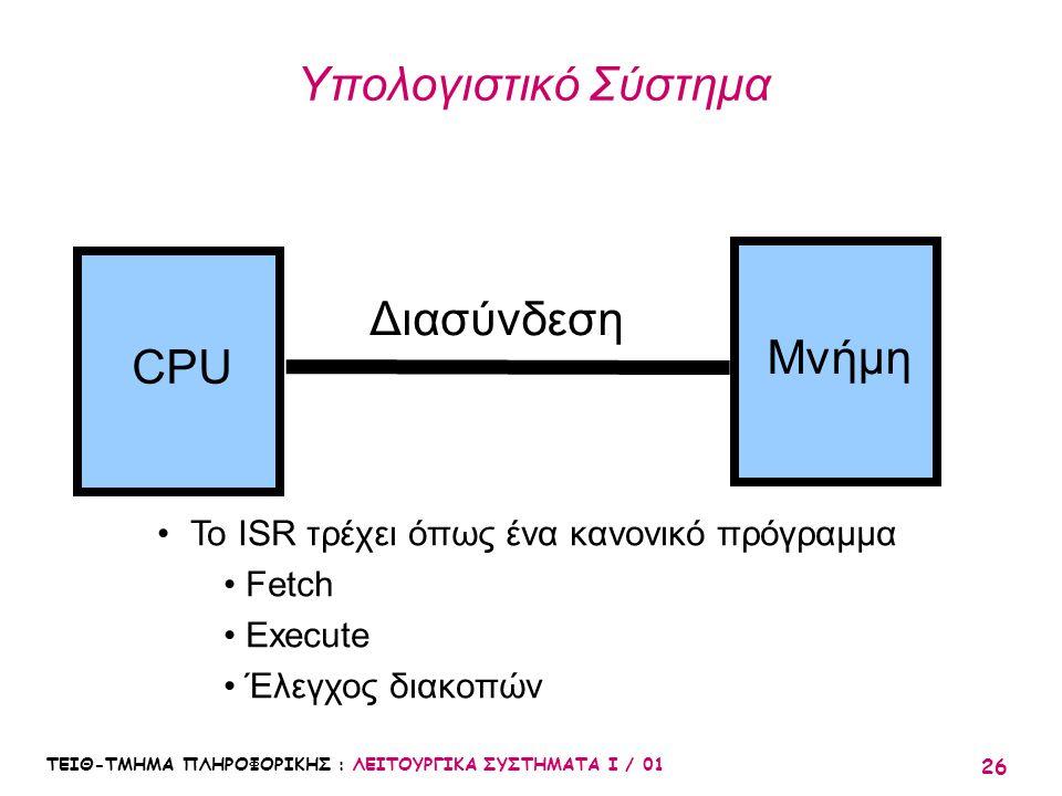 ΤΕΙΘ-ΤΜΗΜΑ ΠΛΗΡΟΦΟΡΙΚΗΣ : ΛΕΙΤΟΥΡΓΙΚΑ ΣΥΣΤΗΜΑΤΑ Ι / 01 26 Υπολογιστικό Σύστημα CPU Μνήμη Διασύνδεση Το ISR τρέχει όπως ένα κανονικό πρόγραμμα Fetch Ex