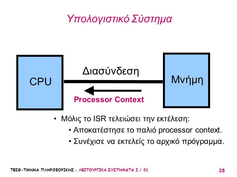 ΤΕΙΘ-ΤΜΗΜΑ ΠΛΗΡΟΦΟΡΙΚΗΣ : ΛΕΙΤΟΥΡΓΙΚΑ ΣΥΣΤΗΜΑΤΑ Ι / 01 28 Υπολογιστικό Σύστημα CPU Μνήμη Διασύνδεση Processor Context Μόλις το ISR τελειώσει την εκτέλ