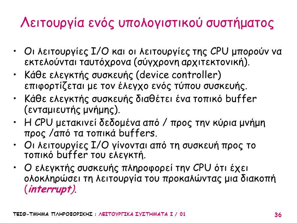 ΤΕΙΘ-ΤΜΗΜΑ ΠΛΗΡΟΦΟΡΙΚΗΣ : ΛΕΙΤΟΥΡΓΙΚΑ ΣΥΣΤΗΜΑΤΑ Ι / 01 36 Λειτουργία ενός υπολογιστικού συστήματος Οι λειτουργίες I/O και οι λειτουργίες της CPU μπορο