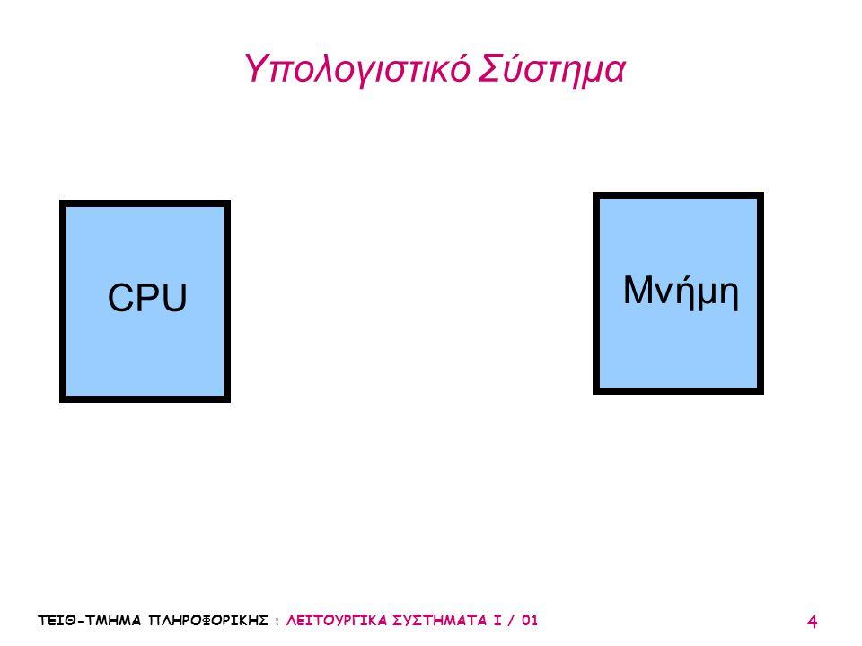 ΤΕΙΘ-ΤΜΗΜΑ ΠΛΗΡΟΦΟΡΙΚΗΣ : ΛΕΙΤΟΥΡΓΙΚΑ ΣΥΣΤΗΜΑΤΑ Ι / 01 4 Υπολογιστικό Σύστημα CPU Μνήμη