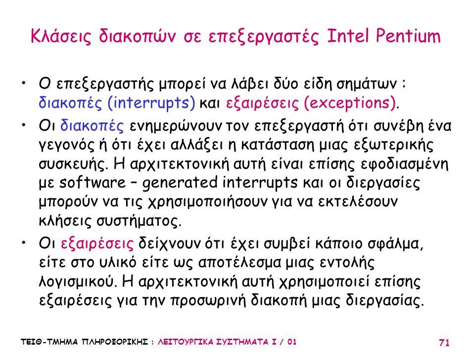 ΤΕΙΘ-ΤΜΗΜΑ ΠΛΗΡΟΦΟΡΙΚΗΣ : ΛΕΙΤΟΥΡΓΙΚΑ ΣΥΣΤΗΜΑΤΑ Ι / 01 71 Κλάσεις διακοπών σε επεξεργαστές Intel Pentium Ο επεξεργαστής μπορεί να λάβει δύο είδη σημάτ