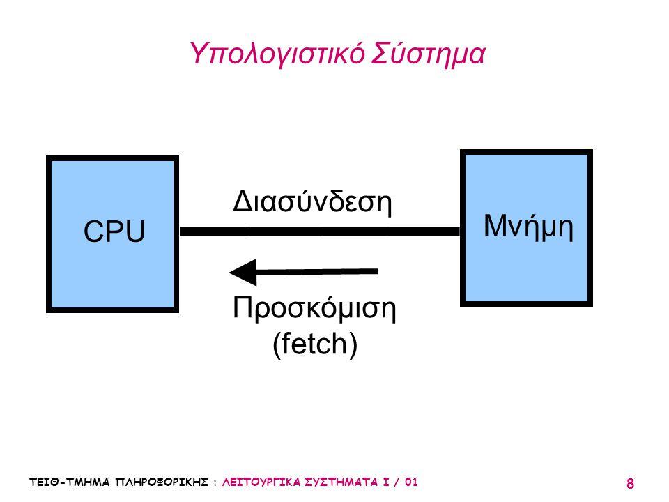 ΤΕΙΘ-ΤΜΗΜΑ ΠΛΗΡΟΦΟΡΙΚΗΣ : ΛΕΙΤΟΥΡΓΙΚΑ ΣΥΣΤΗΜΑΤΑ Ι / 01 8 Υπολογιστικό Σύστημα CPU Μνήμη Διασύνδεση Προσκόμιση (fetch)
