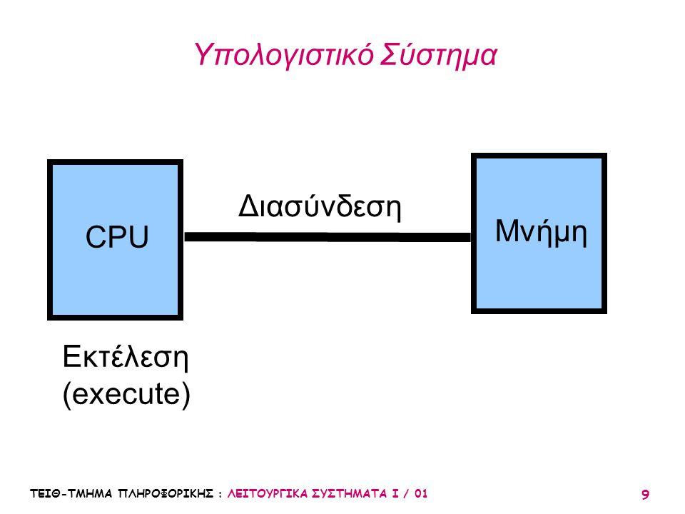 ΤΕΙΘ-ΤΜΗΜΑ ΠΛΗΡΟΦΟΡΙΚΗΣ : ΛΕΙΤΟΥΡΓΙΚΑ ΣΥΣΤΗΜΑΤΑ Ι / 01 9 Υπολογιστικό Σύστημα CPU Μνήμη Διασύνδεση Εκτέλεση (execute)