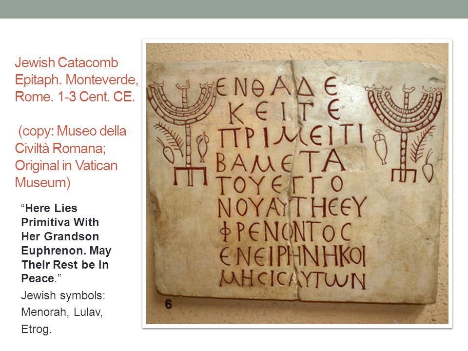 Jewish Catacomb Epitaph. Monteverde, Rome. 1-3 Cent.