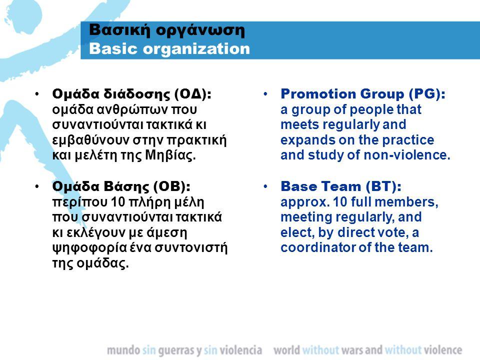 Βασική οργάνωση Basic organization Ομάδα διάδοσης (ΟΔ): ομάδα ανθρώπων που συναντιούνται τακτικά κι εμβαθύνουν στην πρακτική και μελέτη της Μηβίας. Ομ