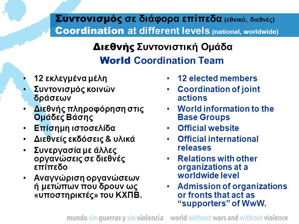 12 εκλεγμένα μέλη Συντονισμός κοινών δράσεων Διεθνής πληροφόρηση στις Ομάδες Βάσης Επίσημη ιστοσελίδα Διεθνείς εκδόσεις & υλικά Συνεργασία με άλλες ορ