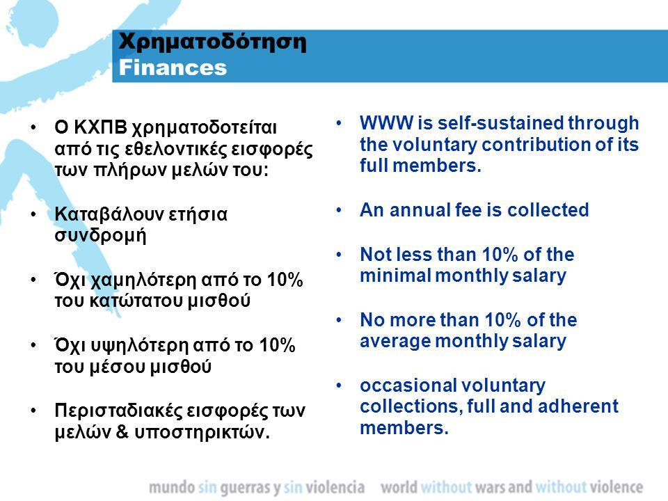 Χρηματοδότηση Finances Ο ΚΧΠΒ χρηματοδοτείται από τις εθελοντικές εισφορές των πλήρων μελών του: Καταβάλουν ετήσια συνδρομή Όχι χαμηλότερη από το 10%