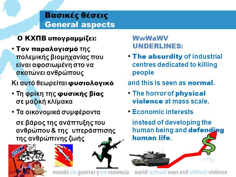 Βασικές θέσεις General aspects Τον παραλογισμό της πολεμικής βιομηχανίας που είναι αφοσιωμένη στο να σκοτώνει ανθρώπους Κι αυτό θεωρείται φυσιολογικό