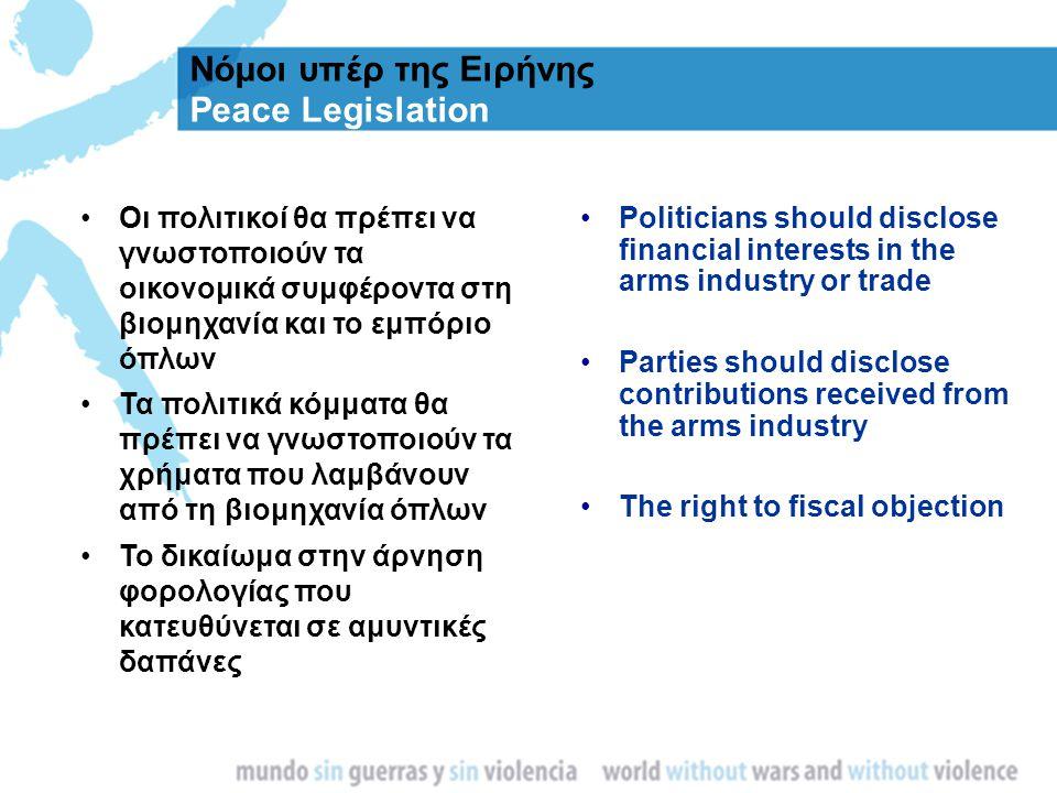 Νόμοι υπέρ της Ειρήνης Peace Legislation Οι πολιτικοί θα πρέπει να γνωστοποιούν τα οικονομικά συμφέροντα στη βιομηχανία και το εμπόριο όπλων Τα πολιτι