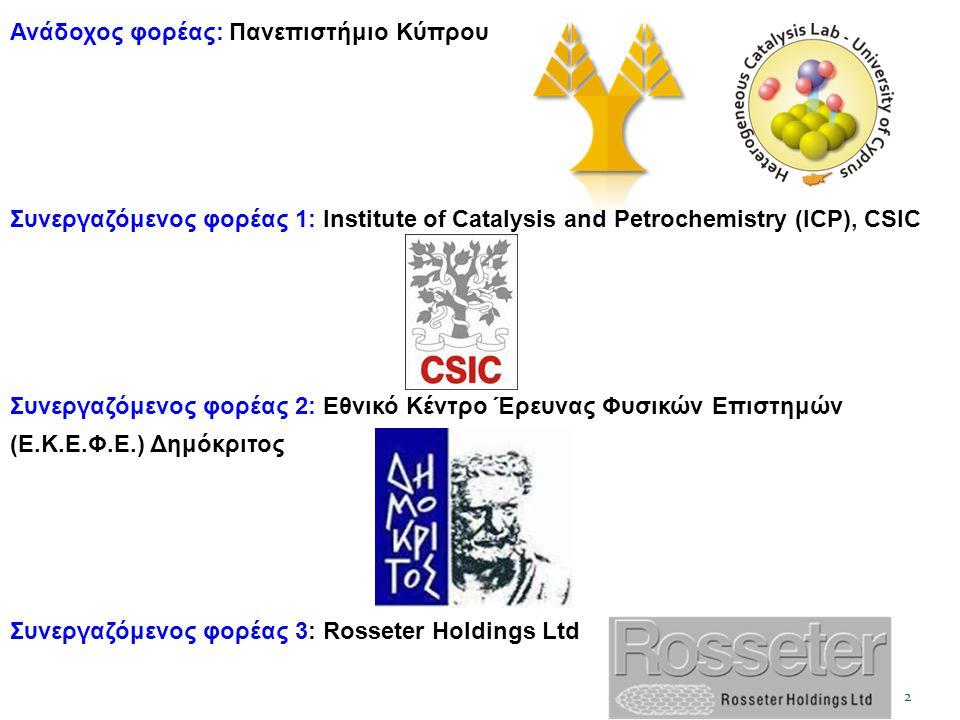 2 Ανάδοχος φορέας: Πανεπιστήμιο Κύπρου Συνεργαζόμενος φορέας 1: Institute of Catalysis and Petrochemistry (ICP), CSIC Συνεργαζόμενος φορέας 2: Εθνικό Κέντρο Έρευνας Φυσικών Επιστημών (Ε.Κ.Ε.Φ.Ε.) Δημόκριτος Συνεργαζόμενος φορέας 3: Rosseter Holdings Ltd