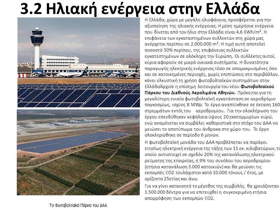 3.2 Ηλιακή ενέργεια στην Ελλάδα H Ελλάδα, χώρα με μεγάλη ηλιοφάνεια, προσφέρεται για την αξιοποίηση της ηλιακής ενέργειας. Η μέση ημερήσια ενέργεια πο