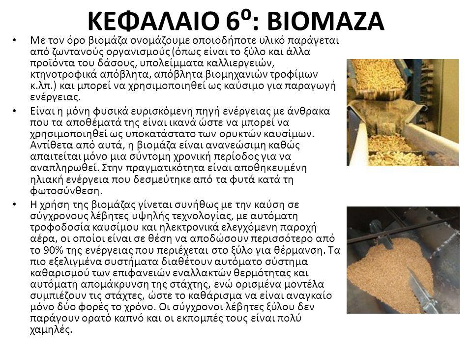 ΚΕΦΑΛΑΙΟ 6⁰: ΒΙΟΜΑΖΑ Με τον όρο βιομάζα ονομάζουμε οποιοδήποτε υλικό παράγεται από ζωντανούς οργανισμούς (όπως είναι το ξύλο και άλλα προϊόντα του δάσ