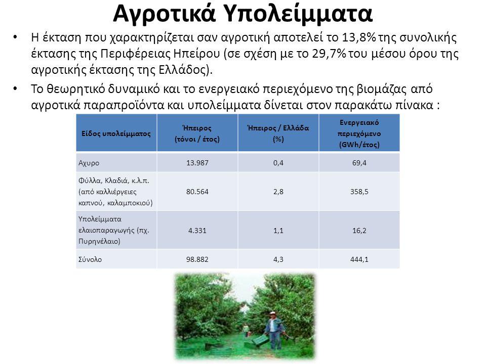 Αγροτικά Υπολείμματα Η έκταση που χαρακτηρίζεται σαν αγροτική αποτελεί το 13,8% της συνολικής έκτασης της Περιφέρειας Ηπείρου (σε σχέση με το 29,7% το