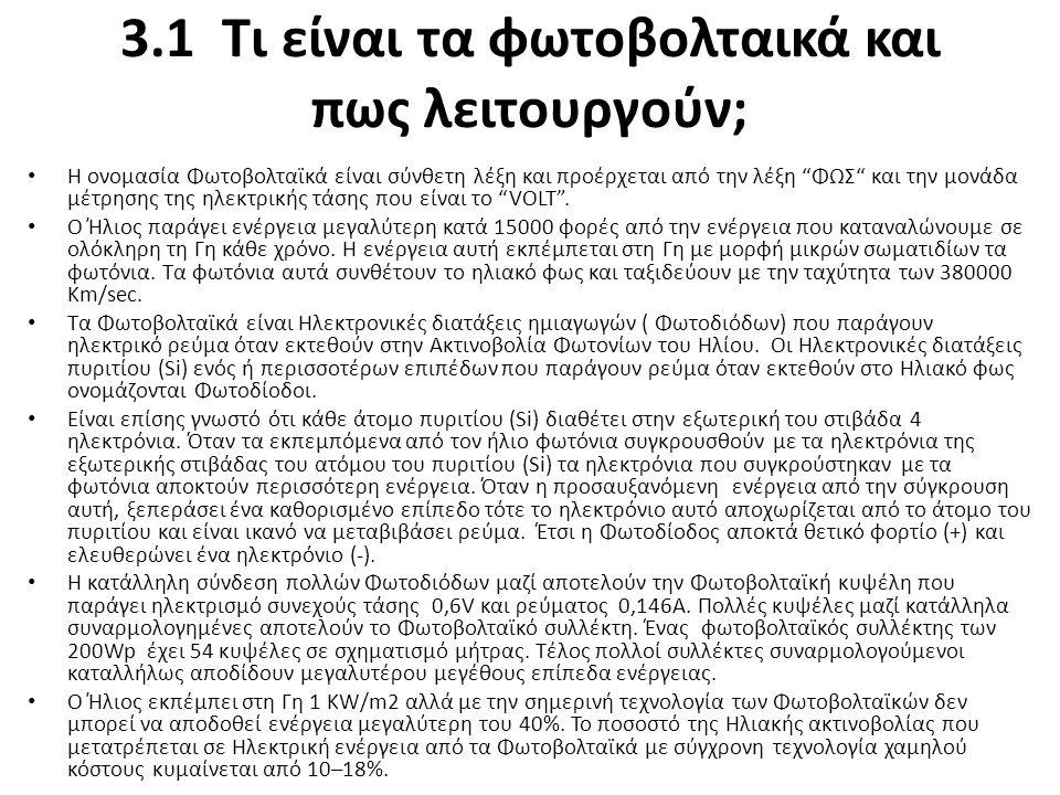 """3.1 Τι είναι τα φωτοβολταικά και πως λειτουργούν; Η ονομασία Φωτοβολταϊκά είναι σύνθετη λέξη και προέρχεται από την λέξη """"ΦΩΣ"""" και την μονάδα μέτρησης"""