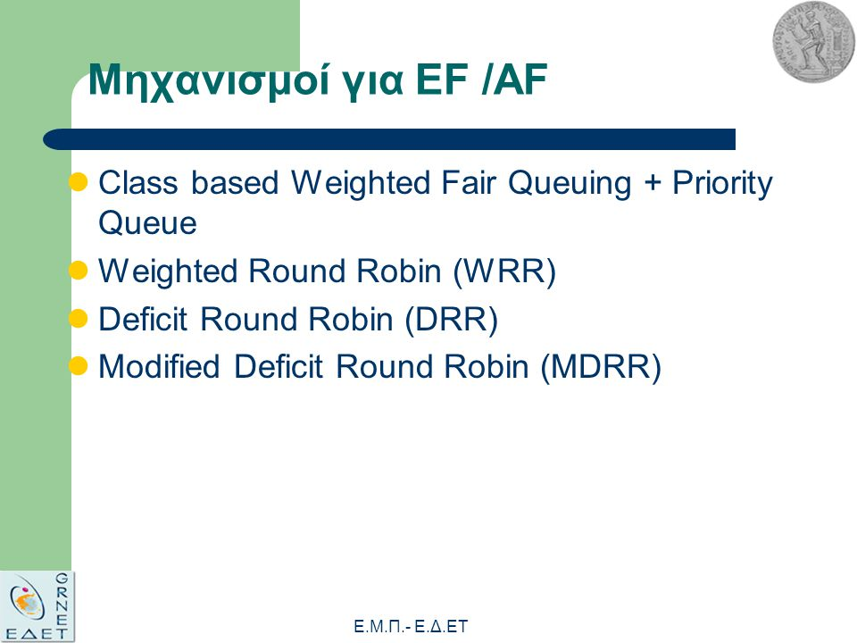 Ε.Μ.Π.- E.Δ.ΕΤ Μηχανισμοί για EF /AF Class based Weighted Fair Queuing + Priority Queue Weighted Round Robin (WRR) Deficit Round Robin (DRR) Modified