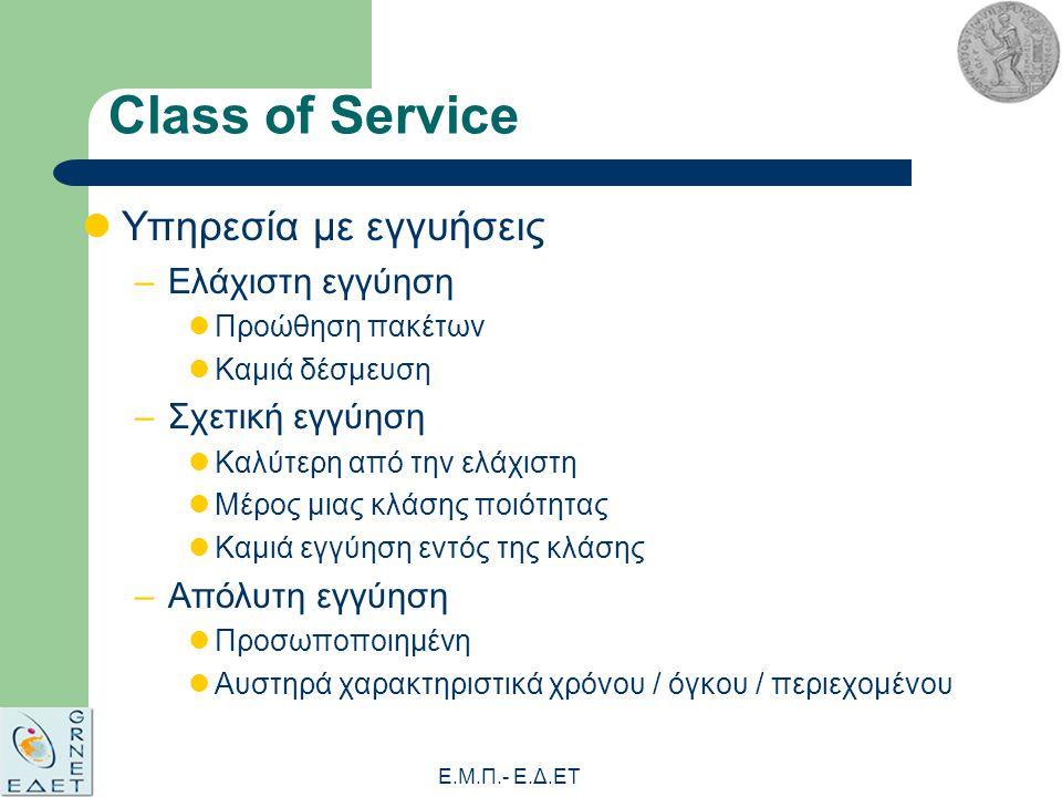Ε.Μ.Π.- E.Δ.ΕΤ Class of Service Υπηρεσία με εγγυήσεις –Ελάχιστη εγγύηση Προώθηση πακέτων Καμιά δέσμευση –Σχετική εγγύηση Καλύτερη από την ελάχιστη Μέρος μιας κλάσης ποιότητας Καμιά εγγύηση εντός της κλάσης –Απόλυτη εγγύηση Προσωποποιημένη Αυστηρά χαρακτηριστικά χρόνου / όγκου / περιεχομένου