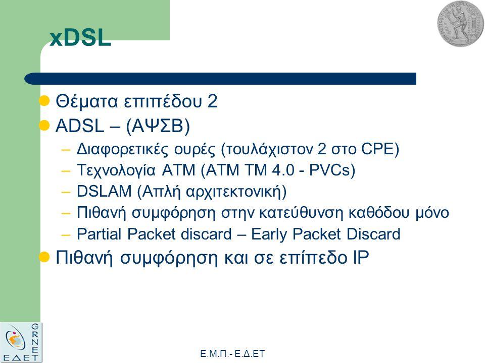 Ε.Μ.Π.- E.Δ.ΕΤ xDSL Θέματα επιπέδου 2 ADSL – (ΑΨΣΒ) –Διαφορετικές ουρές (τουλάχιστον 2 στο CPE) –Τεχνολογία ATM (ΑΤΜ ΤΜ 4.0 - PVCs) –DSLAM (Απλή αρχιτεκτονική) –Πιθανή συμφόρηση στην κατεύθυνση καθόδου μόνο –Partial Packet discard – Early Packet Discard Πιθανή συμφόρηση και σε επίπεδο IP