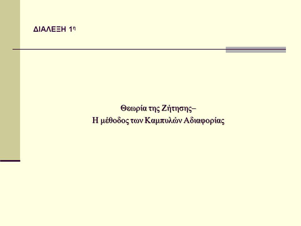 ΔΙΑΛΕΞΗ 1 η Θεωρία της Ζήτησης– Η μέθοδος των Καμπυλών Αδιαφορίας