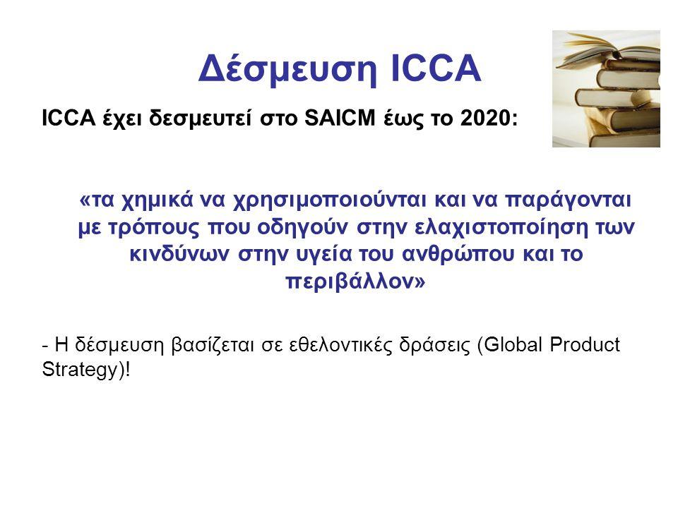 Δέσμευση ICCA ICCA έχει δεσμευτεί στο SAICM έως το 2020: «τα χημικά να χρησιμοποιούνται και να παράγονται με τρόπους που οδηγούν στην ελαχιστοποίηση των κινδύνων στην υγεία του ανθρώπου και το περιβάλλον» - Η δέσμευση βασίζεται σε εθελοντικές δράσεις (Global Product Strategy)!