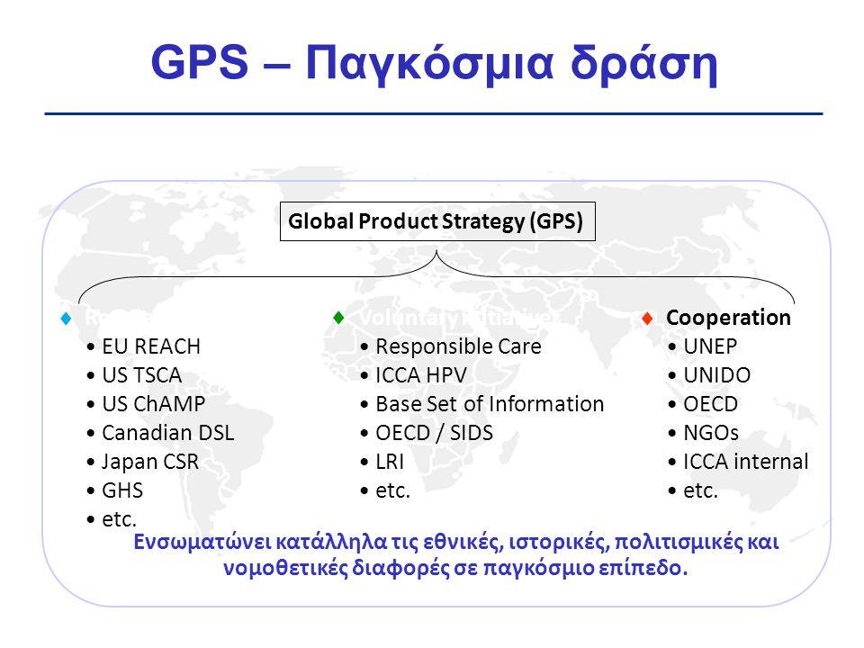 Εύκολη & διαφανής πρόσβαση στην πληροφορία για τους κινδύνους, την έκθεση και τα μέτρα προστασίας για τα χημικά Μελέτες κατανοητές από το κοινό Ευελιξία στις τοπικές / εθνικές απαιτήσεις Περισσότερες από 1300 GPS Safety Summaries διαθέσιμες στα website εταιριών (http://reporting.responsiblecareus.com/Search/PSSumm arySearch.aspx)http://reporting.responsiblecareus.com/Search/PSSumm arySearch.aspx ΔΕΝ αντικαθιστούν τα MSDS των χημικών GPS Safety Summaries