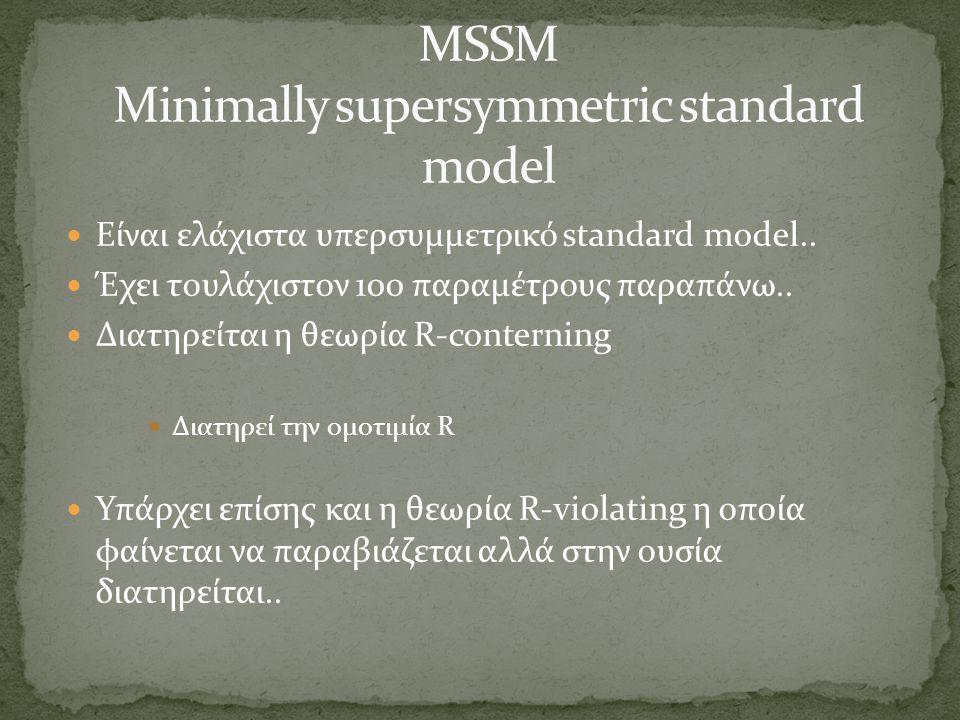 Είναι ελάχιστα υπερσυμμετρικό standard model.. Έχει τουλάχιστον 100 παραμέτρους παραπάνω.. Διατηρείται η θεωρία R-conterning Διατηρεί την ομοτιμία R Υ