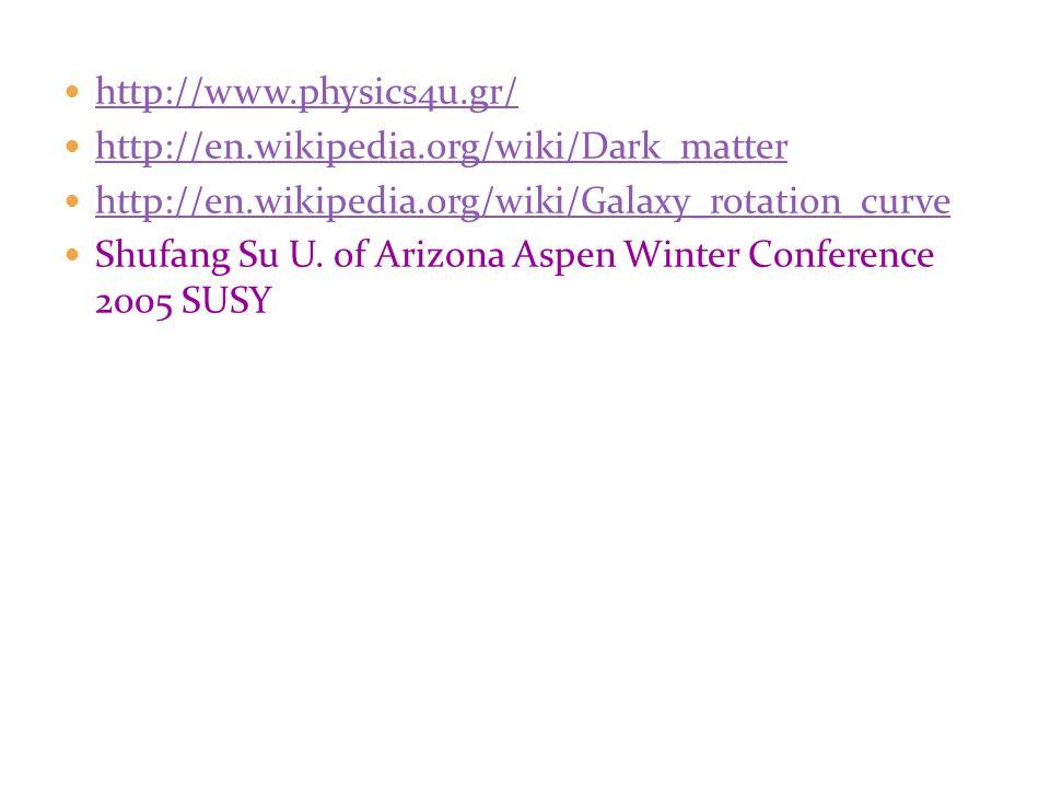 http://www.physics4u.gr/ http://en.wikipedia.org/wiki/Dark_matter http://en.wikipedia.org/wiki/Galaxy_rotation_curve Shufang Su U. of Arizona Aspen Wi