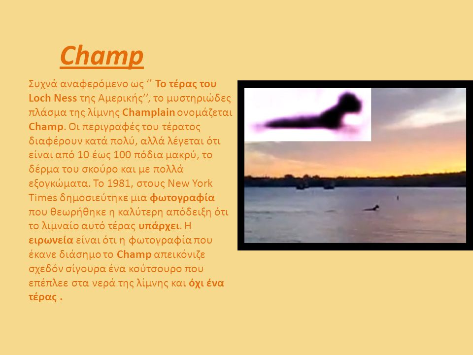 Champ Συχνά αναφερόμενο ως '' Το τέρας του Loch Ness της Αμερικής'', το μυστηριώδες πλάσμα της λίμνης Champlain ονομάζεται Champ. Οι περιγραφές του τέ