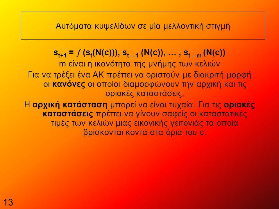 13 Αυτόματα κυψελίδων σε μία μελλοντική στιγμή s t+1 =  (s t (N(c))), s t – 1 (Ν(c)), …, s t – m (N(c)) m είναι η ικανότητα της μνήμης των κελιών Για να τρέξει ένα ΑΚ πρέπει να οριστούν με διακριτή μορφή οι κανόνες οι οποίοι διαμορφώνουν την αρχική και τις οριακές καταστάσεις.