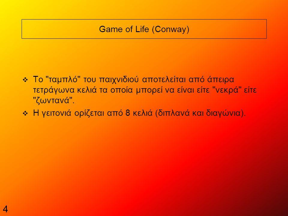 4 Game of Life (Conway)  Tο ταμπλό του παιχνιδιού αποτελείται από άπειρα τετράγωνα κελιά τα οποία μπορεί να είναι είτε νεκρά είτε ζωντανά .