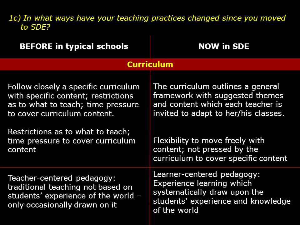 1c) In what ways have your teaching practices changed since you moved to SDE.