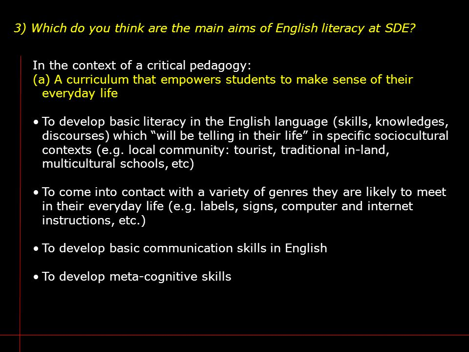 3) Which do you think are the main aims of English literacy at SDE.